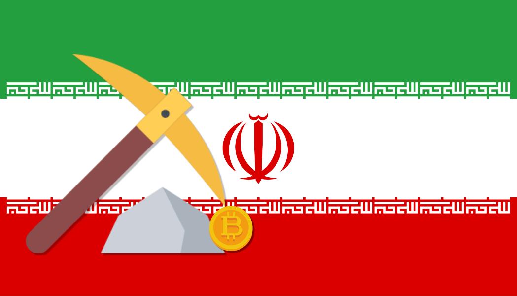 iranska flaggan och krypto mining